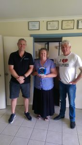 Stephen Lascock (First Aid Tamworth), Susan Philip and James Ardill of Liberty College with their new AED