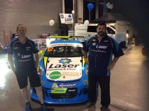 Racing car legend, Steve Richards, (left) with plumbing legend, Peter Dillon, and the Porsche Carrera Cup Car sponsored by Laser Plumbing and Electrical.